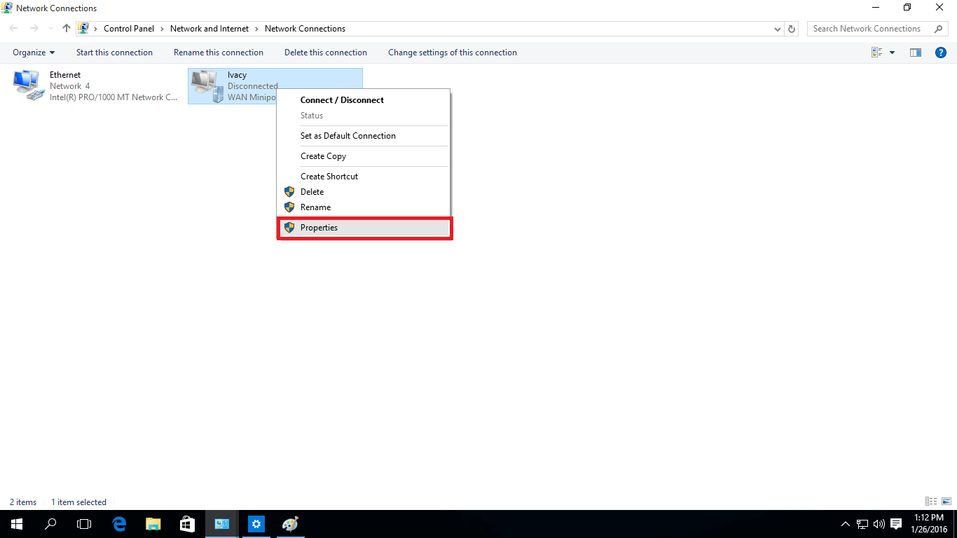 Network connections Windows 10