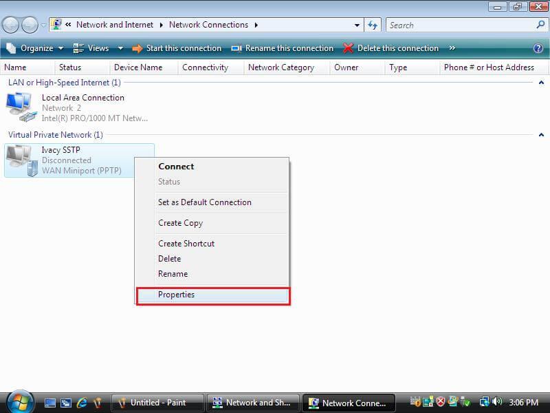 Network Connection Windows Vista