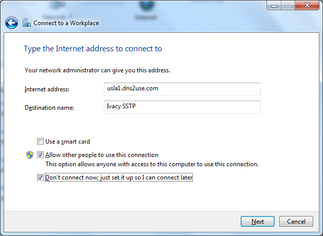 Ivacy VPN Connection on Windows 7