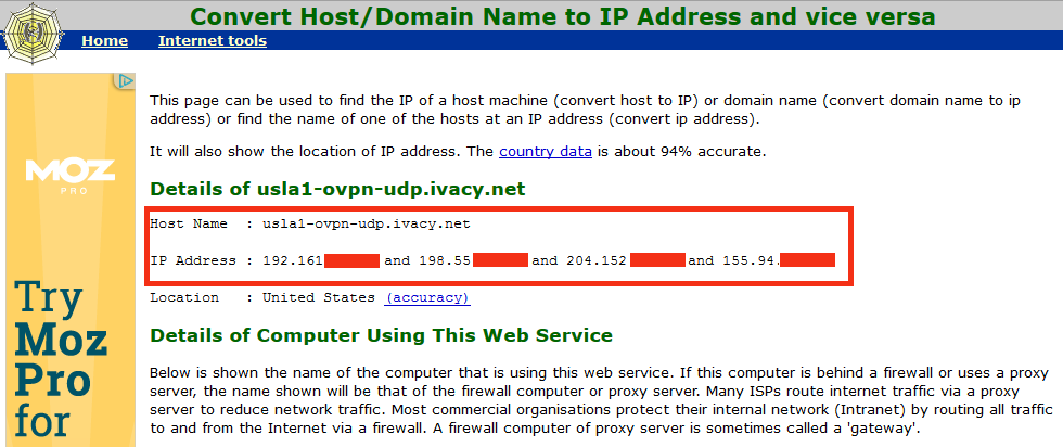 convert hostname to ip