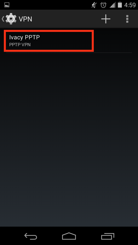 Android VPN Menu