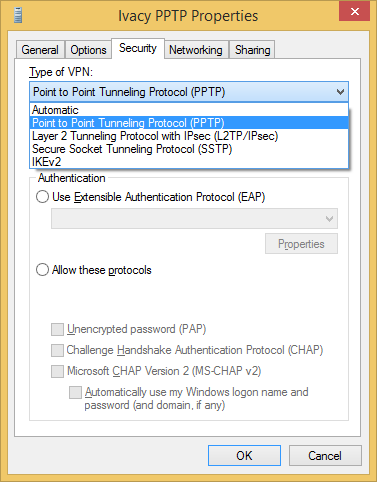Configure VPN PPTP on Windows 8