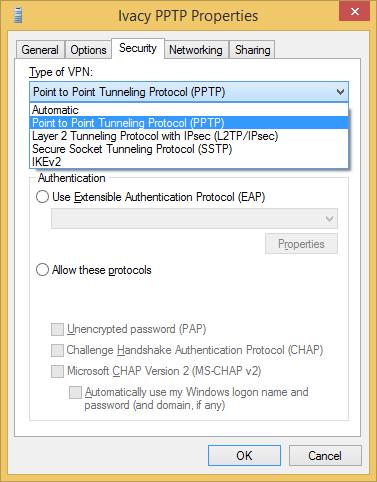 Configure VPN PPTP on Windows 8