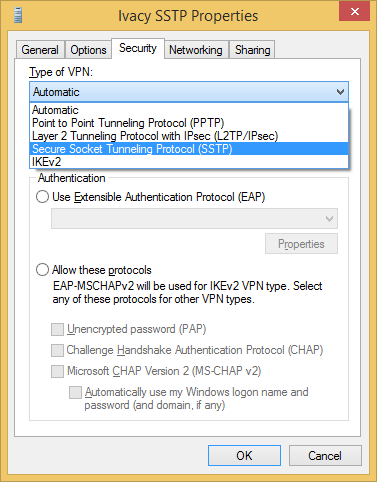 Configure VPN SSTP on Windows 8