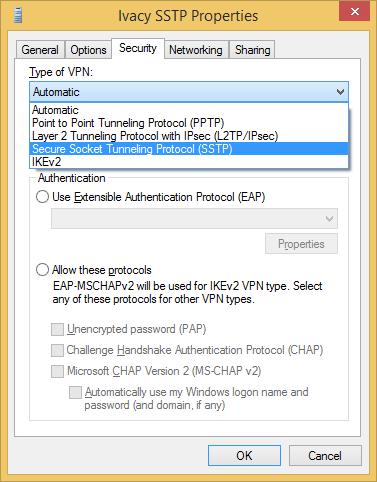 Configure VPN SSTP on Windows 8