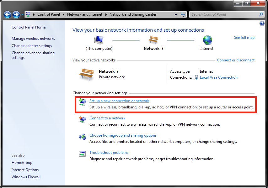 Windows 7 Network & Sharing Center