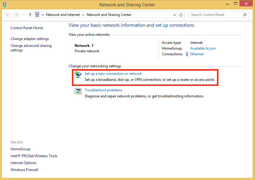 Network and Sharing Center on Windows 8