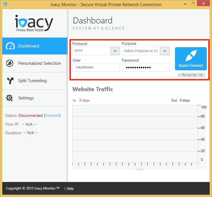 Ivacy VPN Windows 8 Dashboard