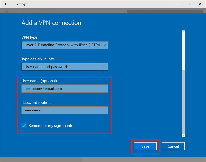 Add a VPN Connection L2TP 2