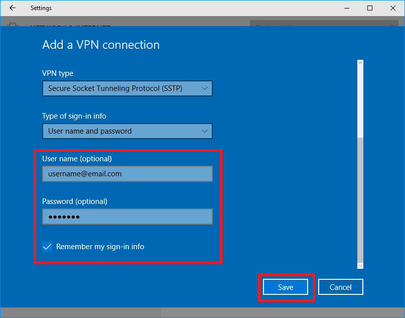 Add a VPN Connection SSTP