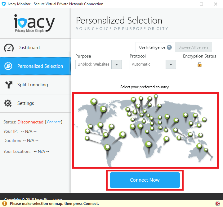 Ivacy Monitor Personalized Selection Tab