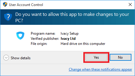 Ivacy Setup dialog box