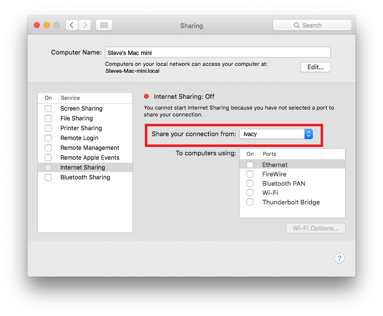 Mac Sharing Settings for ICS