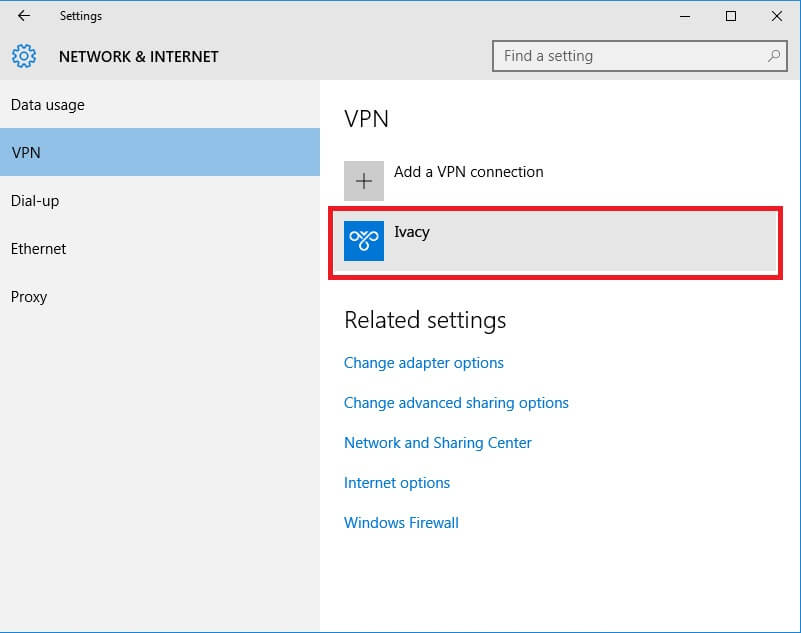 Network and Internet Window Windows 10